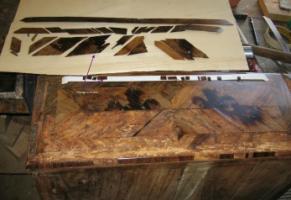 Détail tiroir restauration placage Ile de France
