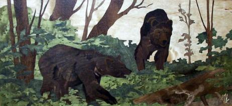 Marqueterie pour bureau de chasse en Europe: deux Ours en marqueterie.