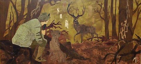 Marqueterie pour bureau de chasse en Europe: Cerf de la Saint Hubert et chasseur.