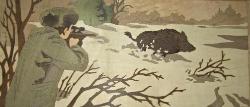 Chasseur et Sanglier en marqueterie, chasse, animaux d'Europe