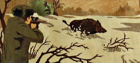 Sanglier et chasseur en marqueterie